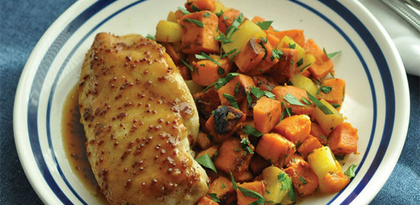 Apple Cider Glazed Chicken with Sweet Potatoes Gloria Gilbere